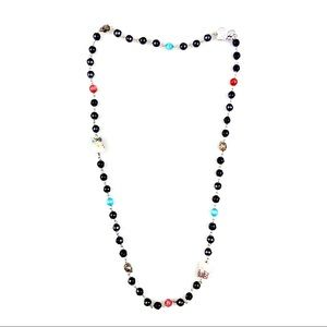 Long Black Beaded Necklace